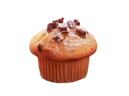 Fresh muffin isolated on white photo