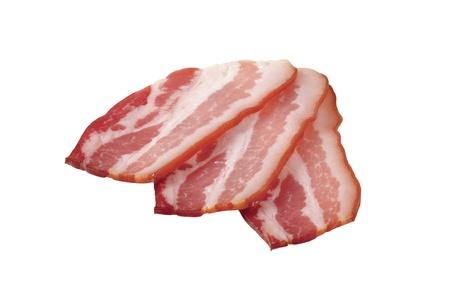 Slices of streaky bacon photo