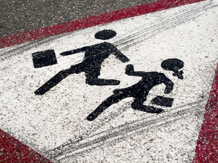 road marking: Sign on the road- Children crossing