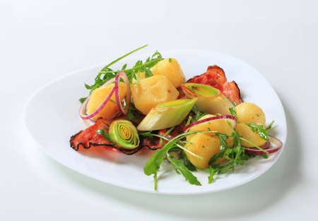 Potatoes with leek, arugula and bacon Stock Photo - 12444036