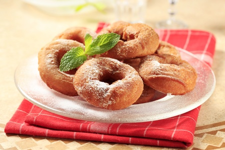 Plate of fresh homemade donuts photo