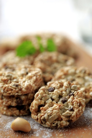 Healthy cookies made from rolled oats and seeds photo