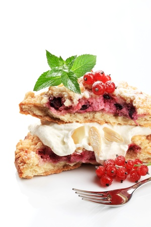 Berry fruit cake with cream - studio photo