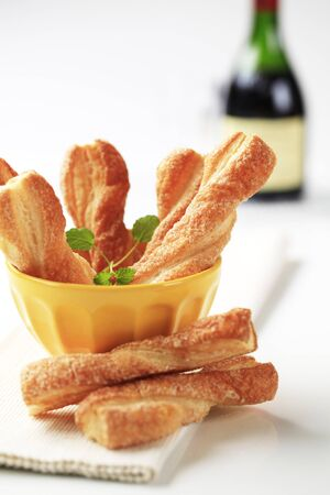 twists: Puff pastry twists sprinkled with sugar