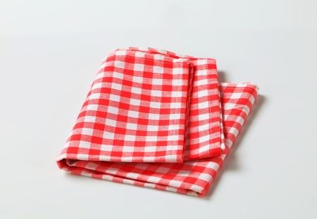 servilleta: Rojo y blanco de lino comprueba la tabla