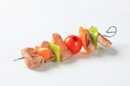 meat skewers: Pork skewer with pieces of fresh pepper Stock Photo