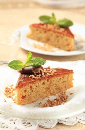 Slice of gingerbread cake photo