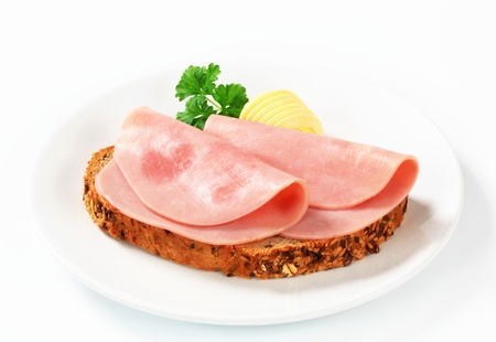 Whole wheat bread and ham photo