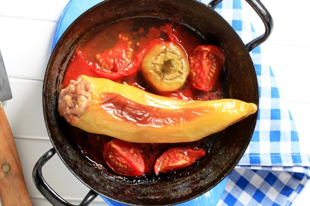 Yellow pepper stuffed with minced meat Stock Photo - 13236932