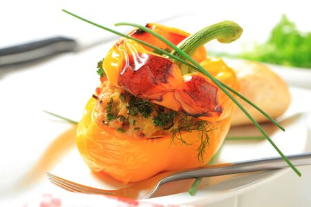 Appetizer - Yellow pepper stuffed with ground meat photo