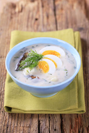 Sour cream dill soup with mushrooms and boiled egg Stock Photo - 13368847
