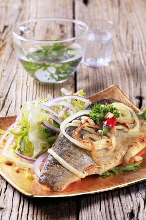 Pan fried trout fillet and green salad Stock Photo - 13467108
