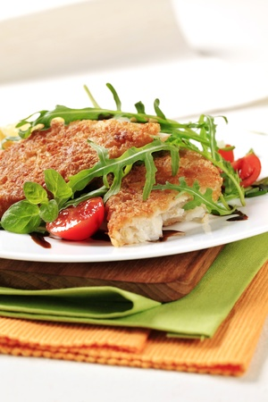 Fried fish on a bed of fresh salad Stock Photo - 13467103