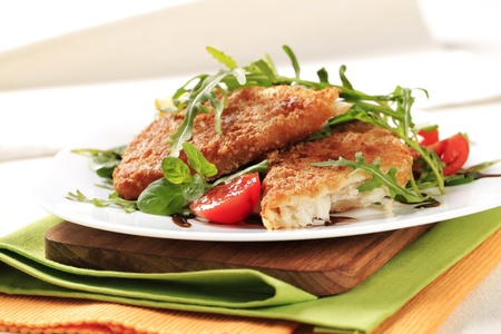 Fried fish on a bed of fresh salad Stock Photo - 13467096