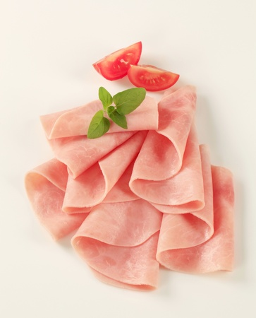 Closeup of thin slices of ham - studio photo