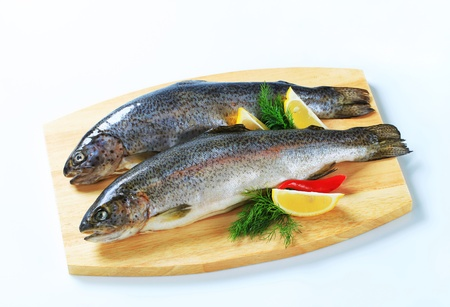 Two fresh trout on a cutting board photo