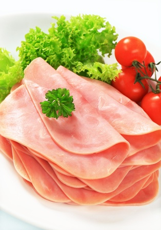 Stack of thinly sliced ham Stock Photo