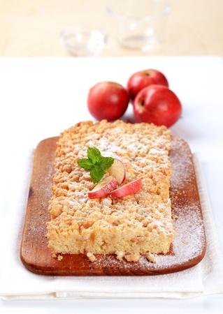 Apple crumb cake  on a cutting board