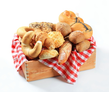 Variety of bread rolls and buns photo