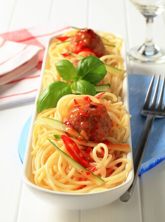 Meatballs on a bed of cooked spaghetti Stock Photo - 14044704