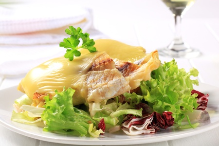 Cheese topped fish fillets served with salad photo