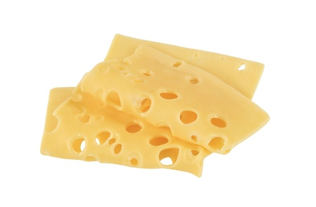 Thin slices of Swiss cheese photo