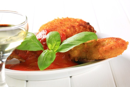 tenders: Crispy chicken tenders with tomato dipping sauce  Stock Photo
