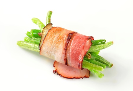 String beans wrapped in slices of bacon photo