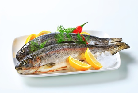 Studio shot of two fresh trout Stock Photo - 14906441