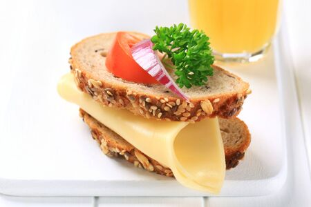 Whole grain bread with cheese photo