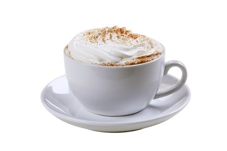 whipped cream: Cup of cappuccino with cream and nutmeg Stock Photo