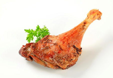 duck: Roast duck leg with crispy skin Stock Photo