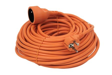 coiled: Coiled Extension Cord - cutout Stock Photo