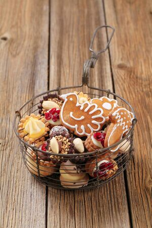Variety of Christmas cookies in a basket  Stock Photo - 15240786