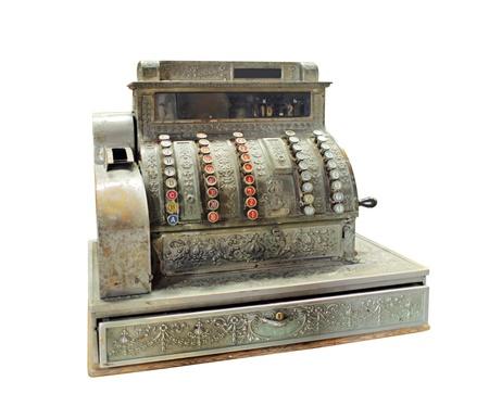 caja registradora: Antique manivela de accionamiento caja registradora - aislados en blanco
