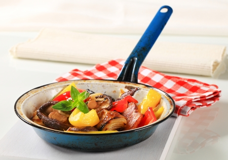 Pan fried vegetables and mushrooms photo