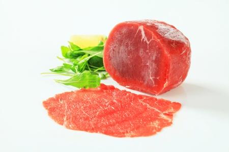 Studio shot of raw beef tenderloin