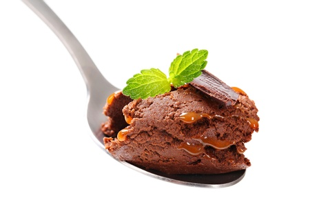 fudge: Chocolate fudge brownie ice cream on spoon Stock Photo