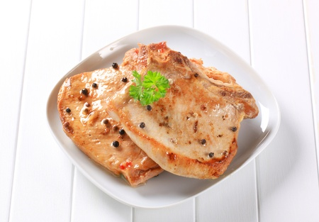 seared: Pan seared pork chops with black peppercorns