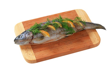 Lemon dill trout on cutting board Stock Photo - 16804022