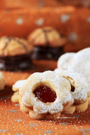 Jam shortbread cookies powdered with icing sugar photo