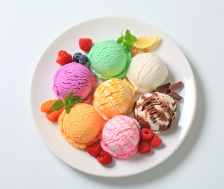 Studio shot of various types of ice cream Stock Photo