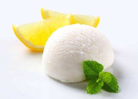 Scoop of lemon ice cream