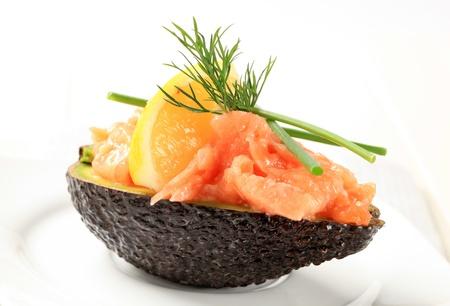 tartare: Delicious appetizer - Fresh avocado and salmon tartare