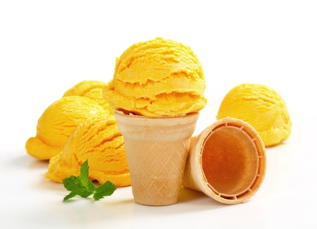 Scoops of yellow ice cream  photo