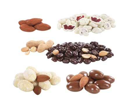 Chocolate covered nuts and fruit - cutout photo