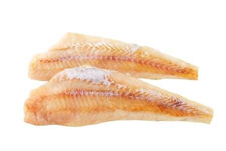 Fresh fish fillets isolated on white photo