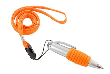 lanyard: Ballpoint pen on an orange lanyard