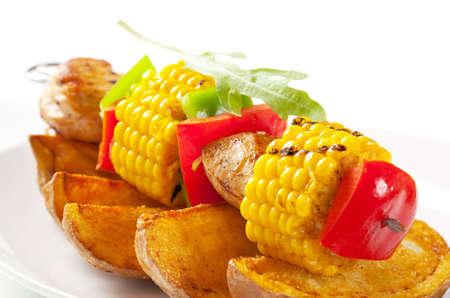 potato wedges: Shish kebab and potato wedges - detail