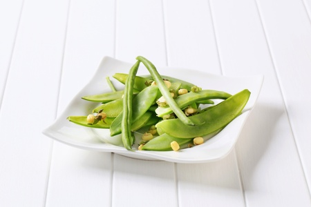 Fresh green beans, mung beans and snow peas Stock Photo - 18016618
